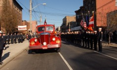 #3 The body was carried to the church on a restored fire truck funeral caisson