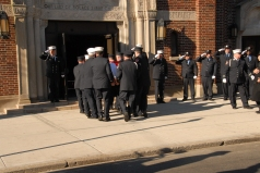 #7 The flag draped coffin entering Our Lady of Solace Shrine Church